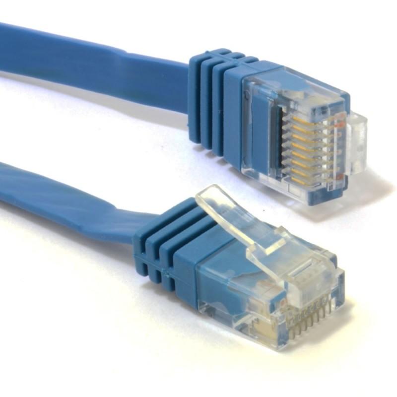 FLAT CAT6 Ethernet LAN Patch Cable Low Profile GIGABIT RJ45  6m BLUE