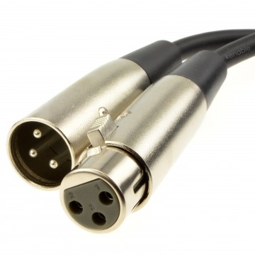 Nickel XLR Male Plug To XLR Female Socket Black Cable Lead   2m