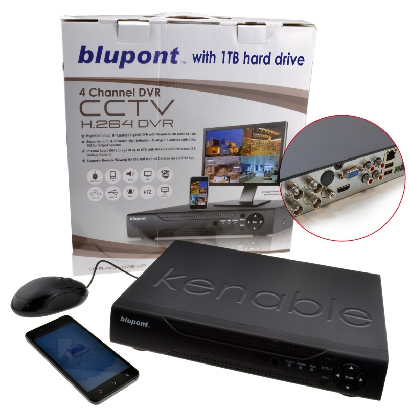 kenable 4 Channel DVR CCTV AHD Recorder Supports Android or IOS wit
