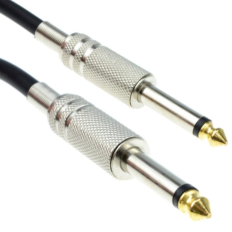 PRO 6.35mm Low Noise Guitar Lead Cable Gold Metal Connectors 4m BLACK