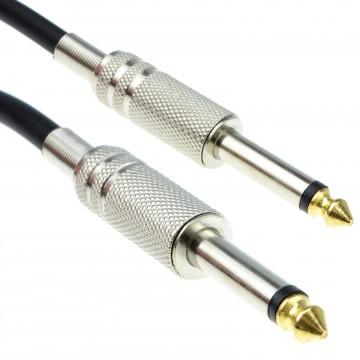 PRO 6.35mm Low Noise Guitar Lead Cable Gold Metal Connectors 6m BLACK