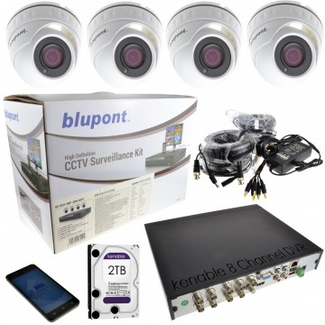 CCTV 4 x 5MP Dome Cameras & 8 Channel DVR with 2TB Drive + 18m...