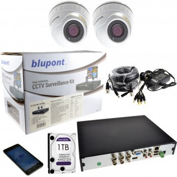 CCTV 2 x 5MP Dome Cameras & 4 Channel DVR with 1TB Drive + 18m...