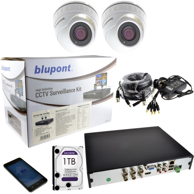 CCTV 2 x 5MP Dome Cameras & 4 Channel DVR with 1TB Drive + 18m Cables
