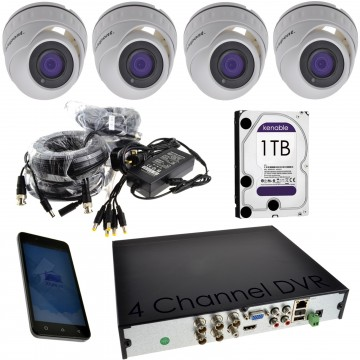 CCTV 1080P Kit 4 x Dome/Turret Cameras + 4 Channel 1TB DVR White