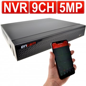NVR 9 Channel H.265 CCTV Recorder for 5MP IP Cameras