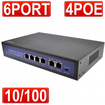 POE Switch 4 Power Over Ethernet & 2 x 10/100Mbps WAN Ports...