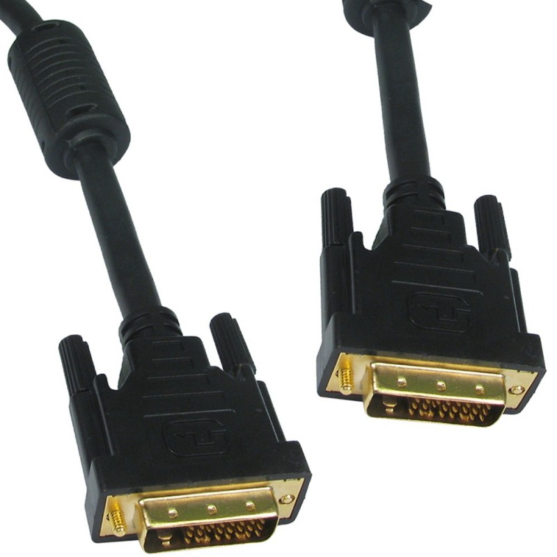 DVI-D Dual Link with Ferrite Cores Male to Male Cable Gold 5m