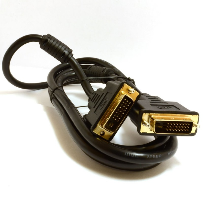 DVI-D Dual Link with Ferrite Cores Male to Male Cable Gold 2m