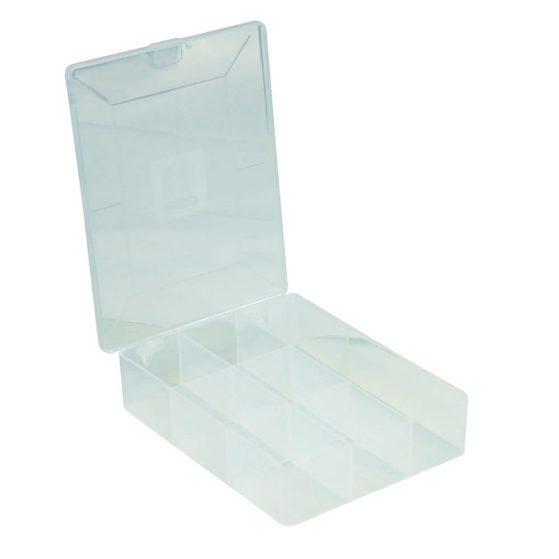 Storage Box 8 Compartment with Hinged Lid for Nuts & Bolts