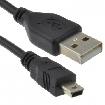 USB 2.0 24AWG Hi-Speed A to mini-B 5 pin Cable Power & Data Lead 1m