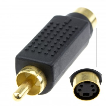 SVHS 4 pin S-Video To Composite RCA Phono Converter Adapter GOLD