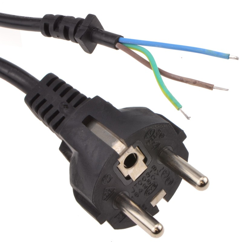 2 pin euro schuko plug to bare end wire 5a 3 core power cable 1 5m