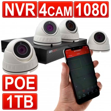CCTV Kit 4 Channel POE NVR Recorder with 1TB HDD & 4 x 1080...