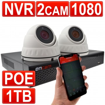CCTV Kit 4 Channel POE NVR Recorder with 1TB HDD & 2 x 1080...