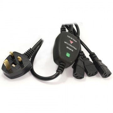 Power Cord UK Plug to 3 C13 IEC Cable Kettle Lead 1.8m Surge...