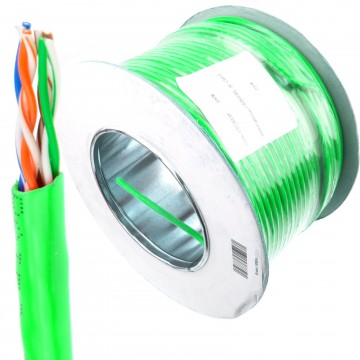 CAT5e UTP COPPER Ethernet Network SOLID Cable Reel 100m - GREEN