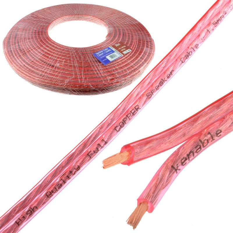 Speaker Cable 16AWG 1.5mm2 Pure OFC Copper Wire Clear  30m