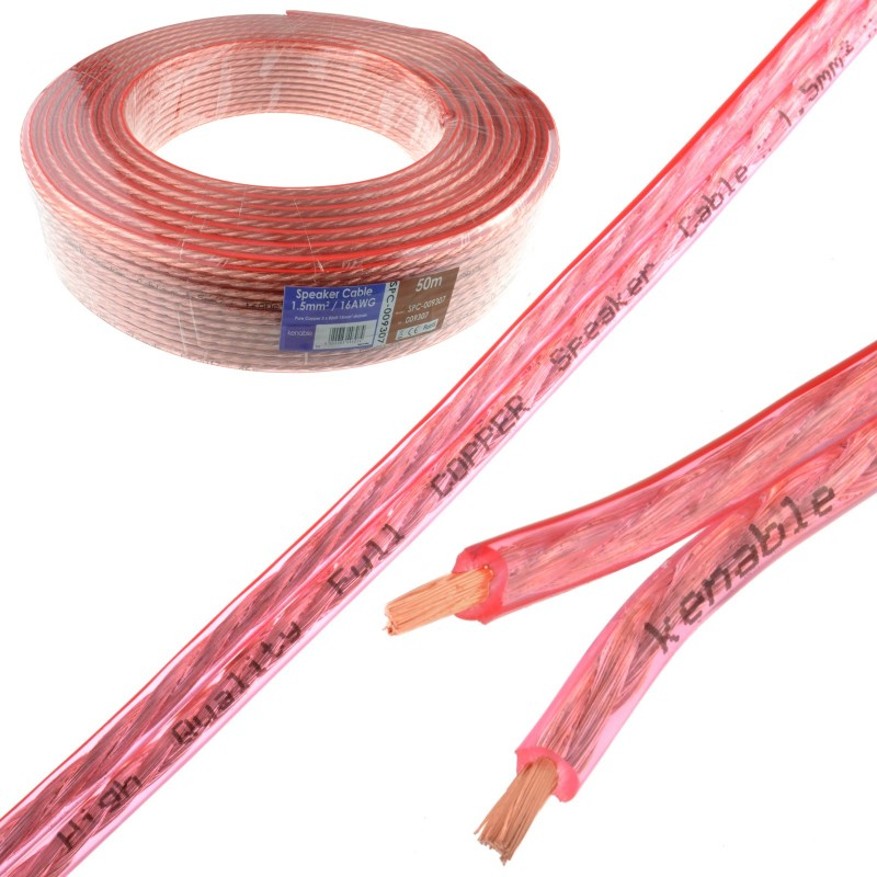 Speaker Cable 16AWG 1.5mm2 Pure OFC Copper Wire Clear  50m