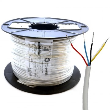 Alarm Security & Signal Cable 4 Core COPPER 100m Reel White