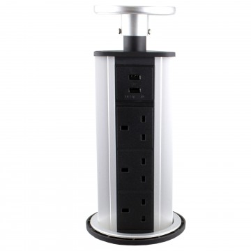 Desktop Bench Pull Up PDU 3 x UK Sockets & 2 USB Ports Kitchen...