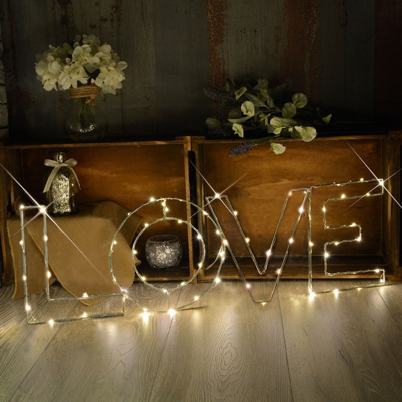 Warm White LOVE Indoor Decoration Mains Powered LED Light Large
