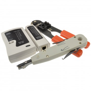 Networking RJ45 RJ11 Tester with Crimper and Punch Down Tool Kit