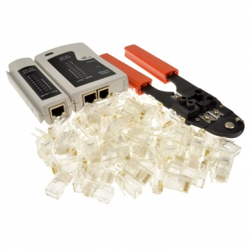 Networking RJ45 RJ11 Tester with Crimper and 100 x RJ45 Ends...