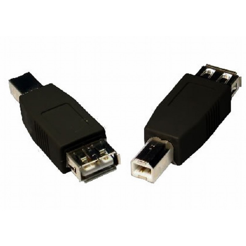 USB 2.0 Compact Printer Adapter Converter A female to B male BLACK
