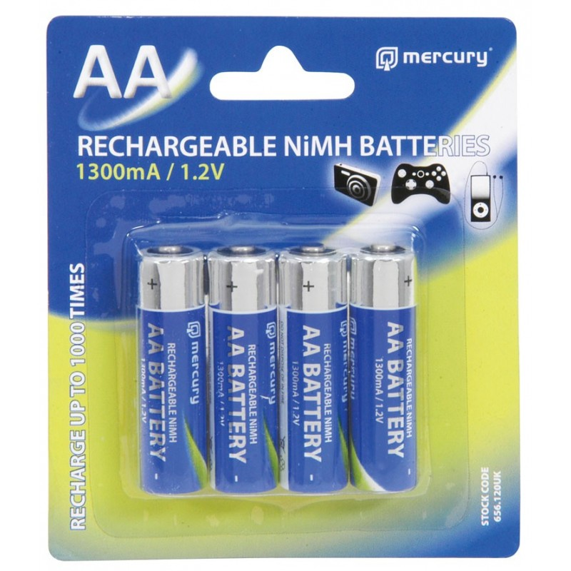 Mercury AA Rechargeable NiMH 1300mA 1.2V Batteries 4 Pack