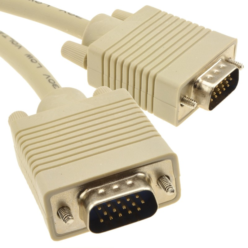 SVGA Cable HD15 Male to Male PC to Monitor Lead 15m Beige