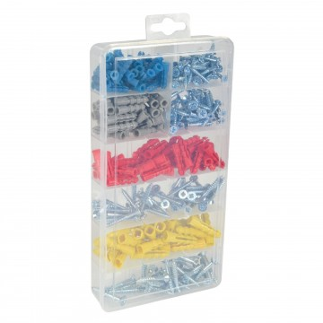 Assorted Screw and Multi Purpose Wall Plugs 258 Piece &...