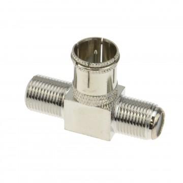F Type Push On Male Plug to Twin Female Sockets Adapter Splitter