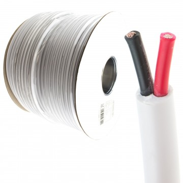 100V Heavy Duty Twin Core Speaker Cable 2x79x0.18mm 25A White 100m