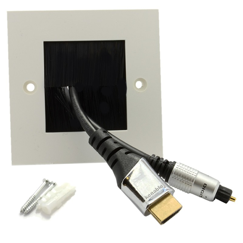 BLACK BRUSH Faceplate for Cable Exit/Wall Outlet UK Single Gang White