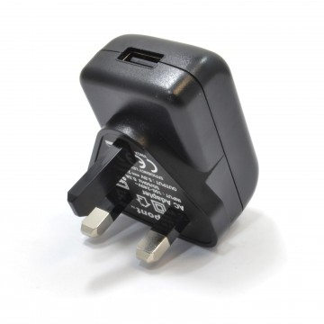 UK Mains Plug Charger to USB for Charging Devices 2000mA 2A BLACK