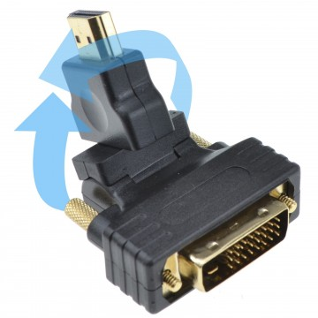 Swivel & Rotating HDMI Male Plug to DVI D 24+1 Male Plug Adapter