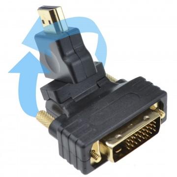 Swivel & Rotating HDMI Male Plug to DVI D 24+1 Male Plug Adapter