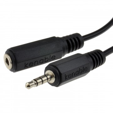 4 Pole TRRS 3 Band 3.5mm Jack Plug to 3.5mm Socket Extension Cable 2m