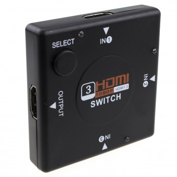 HDMI Compact Switcher 3 Devices to 1 TV Switch Box 3 Way Selector