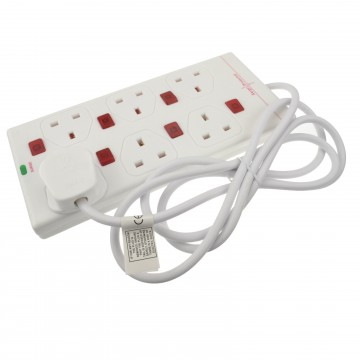 Individually Switched 6 Gang Surge Protected Mains Power Extension 2m