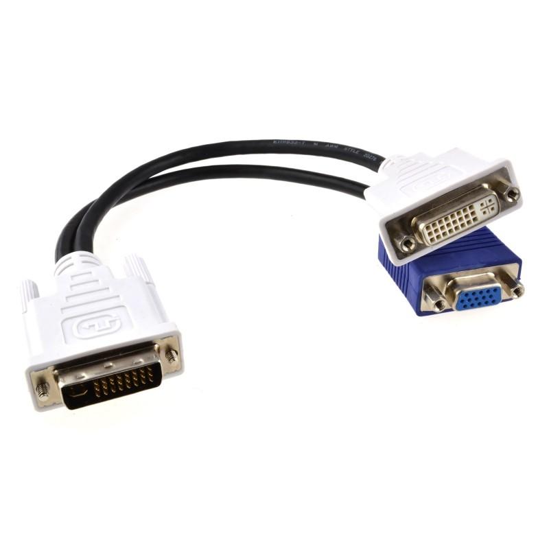 DVI Splitter Cable 24+5 Male Plug to 15Pin VGA & DVI-I Sockets
