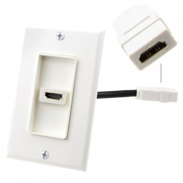 HDMI Flush EURO Wall Plate Faceplate Socket HDMI Tail Cable...