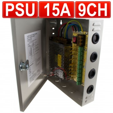 9 Port 15 Amp. 15a 12v Videoüberwachung CCTV PSU Strom Liefern...