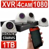 encam 1080P CCTV Kit 4 Channel XVR Recorder with 1TB HDD & 4 x 1080 Cameras White