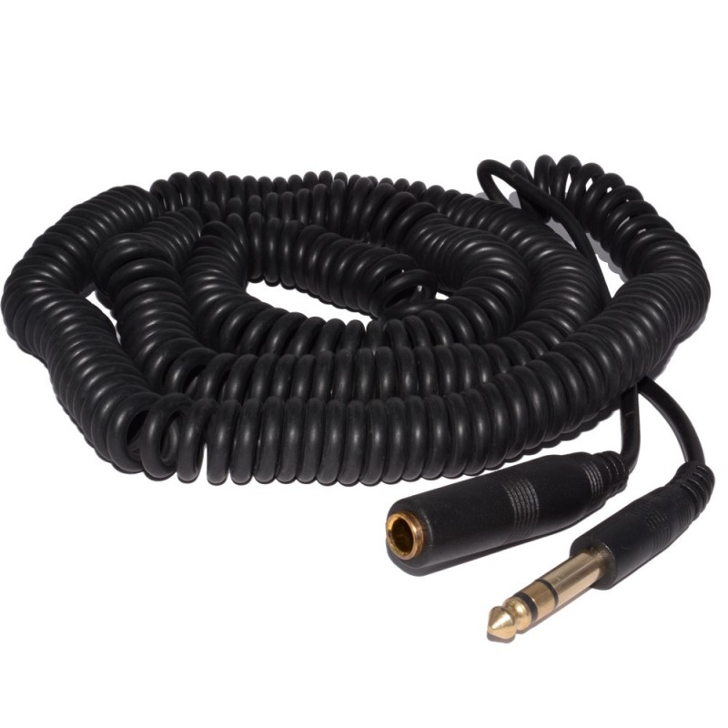 COILED 6.35mm Stereo Jack Extension Lead Male Female Audio Cable 10m