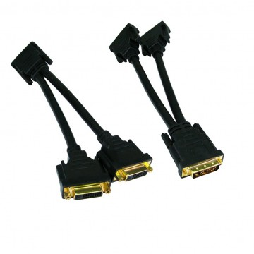 DVI Splitter Cable - Splits the DVI-D signal to Twin DVI...