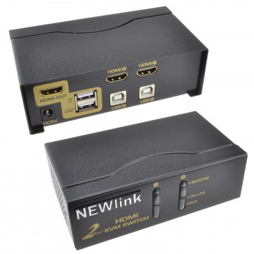 Newlink KVM 2 Port USB HDMI Switch Control 2 PCs with 1...
