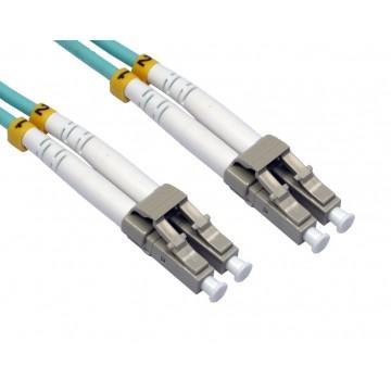 OM3 Aqua Fibre Optic LC LC Duplex MM 50 125 Patch LSZH Cable  5m