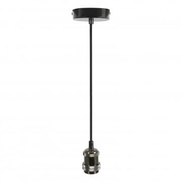Single E27 Black Chrome Rose Vintage Lighting Pendant 1.8m Cable